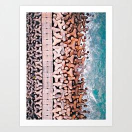 on the sea wall Art Print