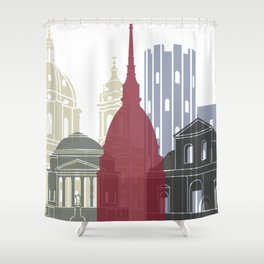 Turin Skyline Poster Shower Curtain