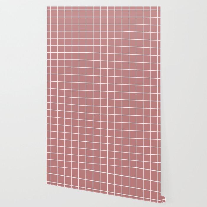 Old rose - pink color - White Lines Grid Pattern Wallpaper