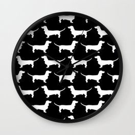 Dachshund Silhouette Black and White Pattern Wall Clock