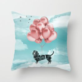 Dachshund Drift Throw Pillow