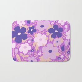 Flower bonanza - Purple background Bath Mat