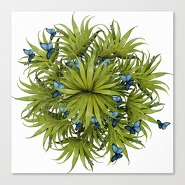 """El Bosco fantasy, tropical island blue butterflies 02"" Canvas Print"