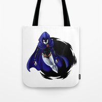 teen titans Tote Bags featuring Teen Titans: Raven by JaDis