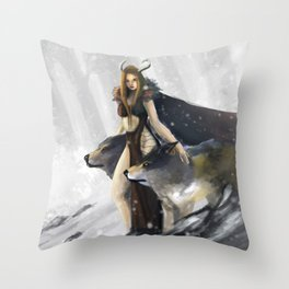 Guardian of wolves Throw Pillow