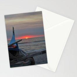 Sunset on an ocean beach Stationery Cards