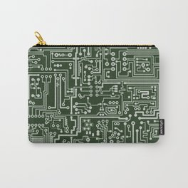 Circuit Board // Green & Silver Carry-All Pouch