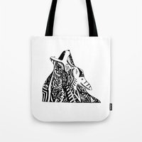 coyote Tote Bags featuring coyote by Buckley