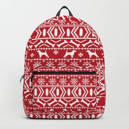 Beagle fair isle christmas red and white dog breed holiday gifts beagles Backpack