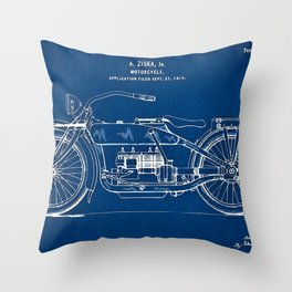 1919 Motorcycle Patent Outline Print Throw Pillow