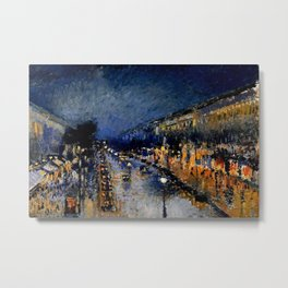 The Boulevard Montmartre At Night : Camille Pissarro Metal Print