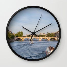 Pont Royal over the Seine river - Paris, France Wall Clock