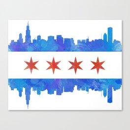 Chicago Flag Skyline Watercolor Canvas Print