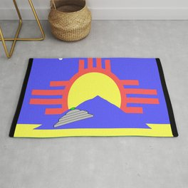flag of Roswell with flying saucer Rug