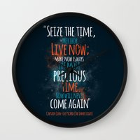 """picard Wall Clocks featuring """"Live now; make now always the most precious time. Now will never come again"""" Captain Picard by Elizabeth Cakovan"""