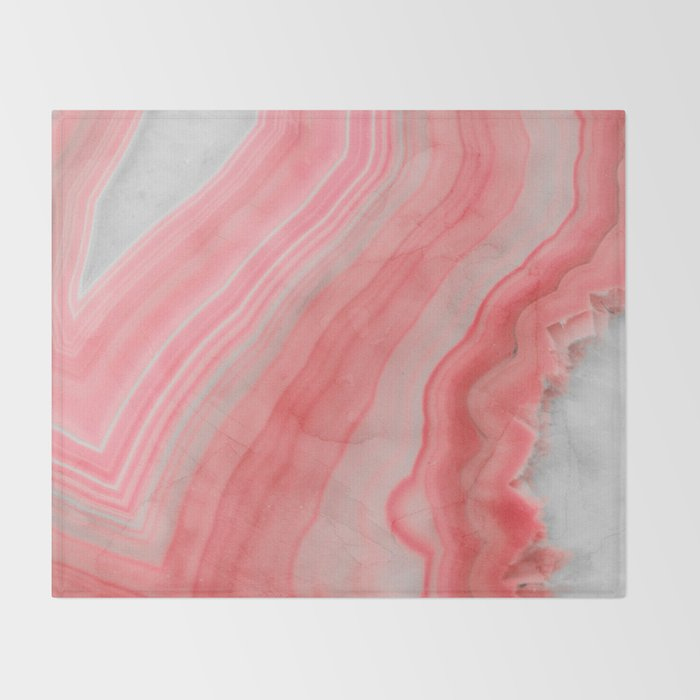 Coral Pink Agate Throw Blanket