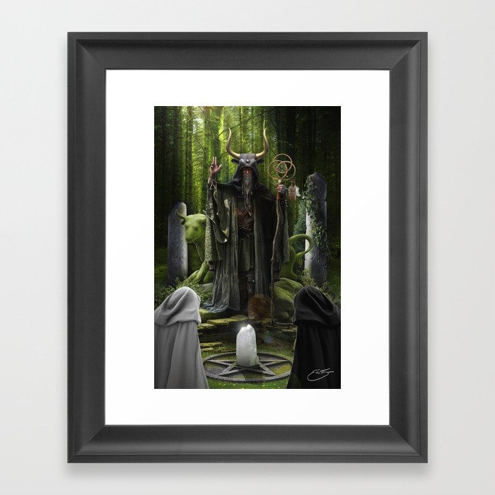 V. The Hierophant Tarot Card Illustration (Color) Version II Framed Art Print