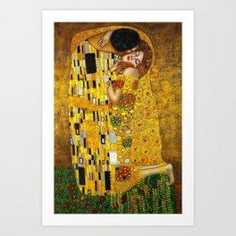 The Kiss Painting Gustav Klimt Art Print