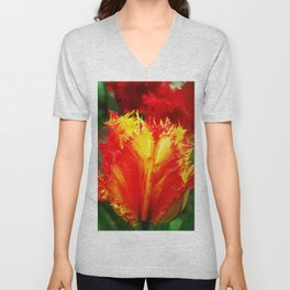 Curly Tulip Red And Yellow Unisex V-Neck