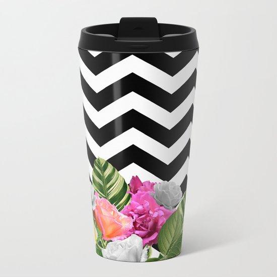 Chevron Floral Metal Travel Mug