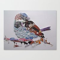 sparrow Canvas Prints featuring sparrow by Ruud van Koningsbrugge