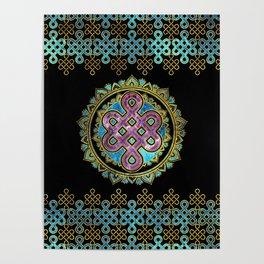 Endless Knot in Mandala Lotus shape Poster