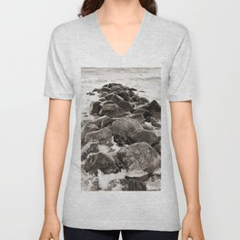 Breakwater on the Baltic Sea 2 Unisex V-Neck