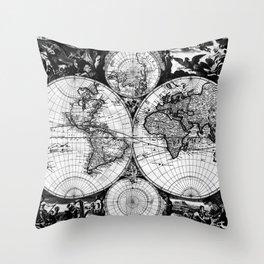 Vintage Map of The World (1685) Black & White Throw Pillow