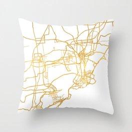 QINGDAO CHINA CITY STREET MAP ART Throw Pillow