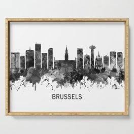 Brussels Belgium Skyline BW Serving Tray