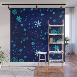 Blue Snowflakes Pattern Wall Mural