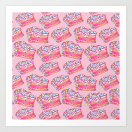 Birthday Cake - Pink BG Art Print