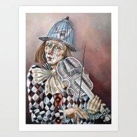 clown Art Prints featuring Clown by SilviaGancheva