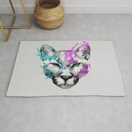 Watercolor snow panther leopard artsy watercolour cougar painting Rug