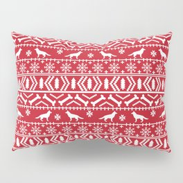 German Shepherd fair isle christmas pattern dog gifts dog breeds pet art holiday red and white Pillow Sham