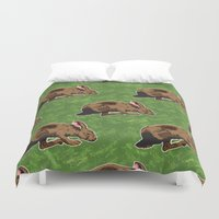 hare Duvet Covers featuring Hare by Skekfaer