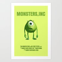 monsters inc Art Prints featuring Monsters, Inc by FunnyFaceArt