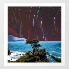 Lone Cypress Stars Art Print