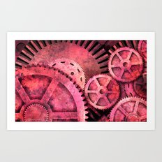 Steampink Pink Steampunk Gears Art Print