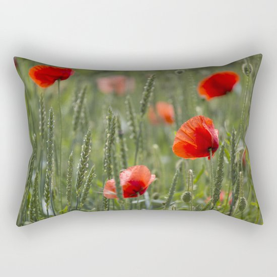 Red Poppy Flowers on green meadow Rectangular Pillow