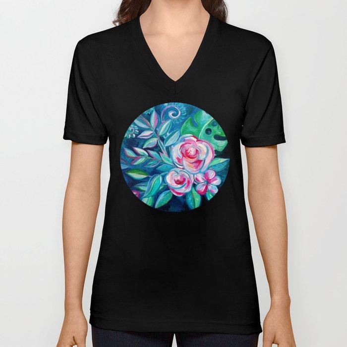 Tropical Camellia Extravaganza - oil on canvas Unisex V-Neck