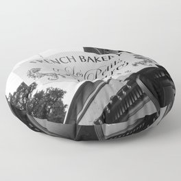 French Bakery Sign - Black and White Floor Pillow