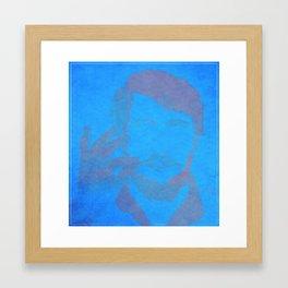 Mustacho blue Framed Art Print