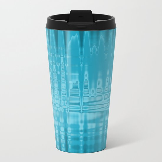 ABSTRACT MADNESS IN BLUE Metal Travel Mug
