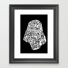 Darth Vader [White on Black] Framed Art Print