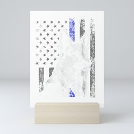 Thin Blue Line Flag K9 Shirt German Shepherd Police Dog Gift Mini Art Print