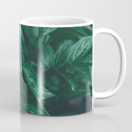 Green Leaves with Water Droplet - Nature Photography Coffee Mug