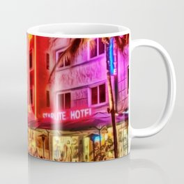 Nighttime South Beach Starlite & Colony Hotels Miami landscape by Jeanpaul Ferro Coffee Mug