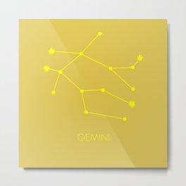 GEMINI (YELLOW-GOLD STAR SIGN) Metal Print