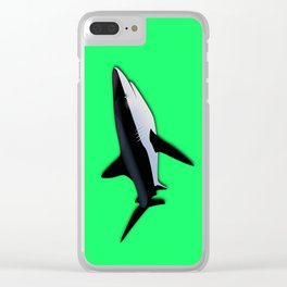 Great White Shark  on Acid Green Fluorescent Background Clear iPhone Case